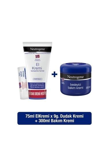 Neutrogena Parfümlü El Kremi 75 Ml + Besleyici Bakım Kremi 300 Ml +Dudak Kremi Hediyeli Renksiz